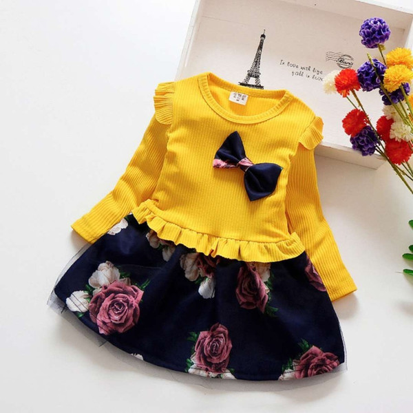 12m-4t Baby Spring Christmas Party Dresses Kids Girls Floral Clothes Children Girl Birthday Dress Bow Clothing Infant Q190518