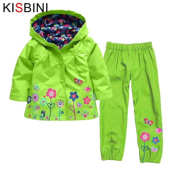 good quality Autumn Boy Coats Jackets Children Clothing Baby Raincoat Waterproof Girl Outerwear Costume Kids Clothes Pants 2 Pcs suit