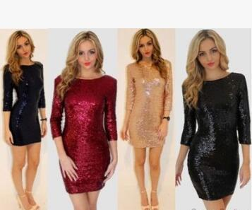 2019 euramerican style sequins sexy fashion see-through dress backless tight buttock pencil skirt
