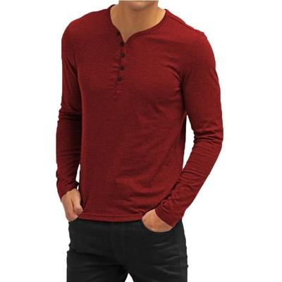 Hot Sale Men's Solid Color Polos Slim V-neck Shirt for Men Tide Brand Long Sleeve Button Closure Simple Casual Tees Red White BlueS-XXL