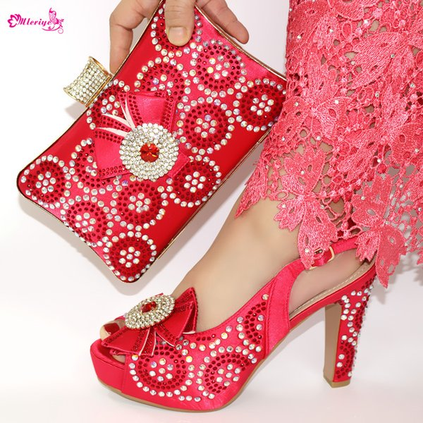 2019 Italian StyleFull Rhinestone Red Color Shoes And Bag Set Lastes Africa Woman Heels Shoes And Bag Set For Party