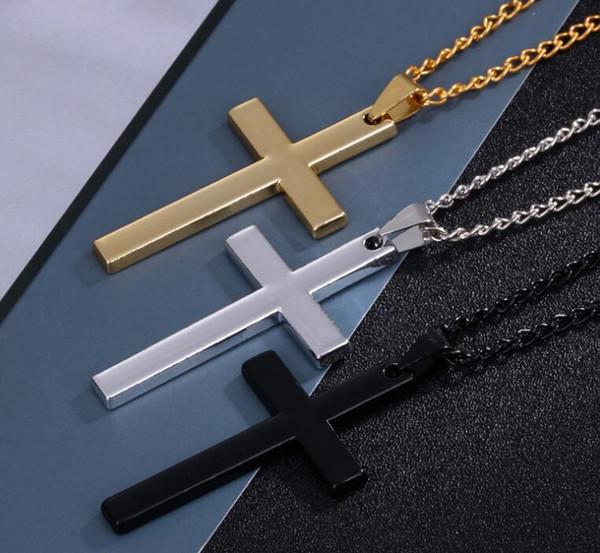 Cristiano de acero inoxidable para hombre cruz collares colgante declaración enlace cadena crucifijo collar joyería popular regalos accesorios de moda