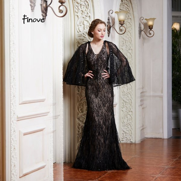 Finove Evening Dress 2019 Long Sexy Lace Up Neck Line Lace Feathers Beading With Jacket Formal Party Woman Dress Robe de soiree