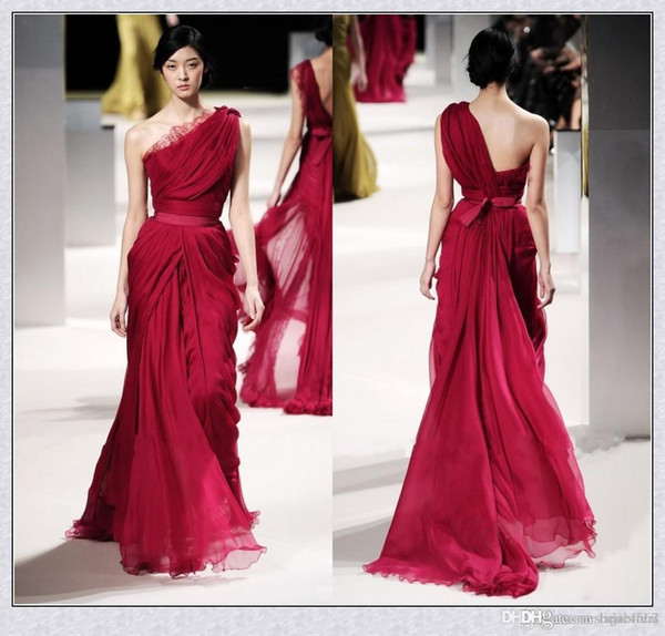 2019 Evening Gowns Long Red Evening Celebrity Dresses Lace Applique One Shoulder Backless Pleat Chiffon Sequins Runaway Dress Formal Gown