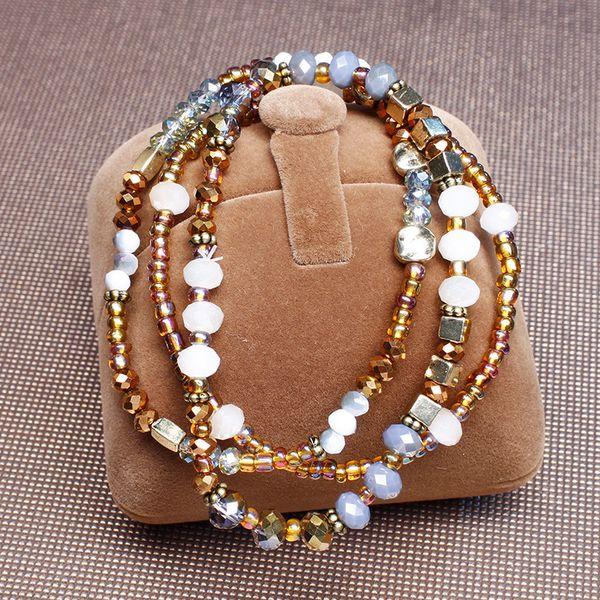 2 colori di vetro vento perline perline di protezione dell'ambiente braccialetto materiale serie europee e americane, braccialetto taglio perle di vetro multi-sided