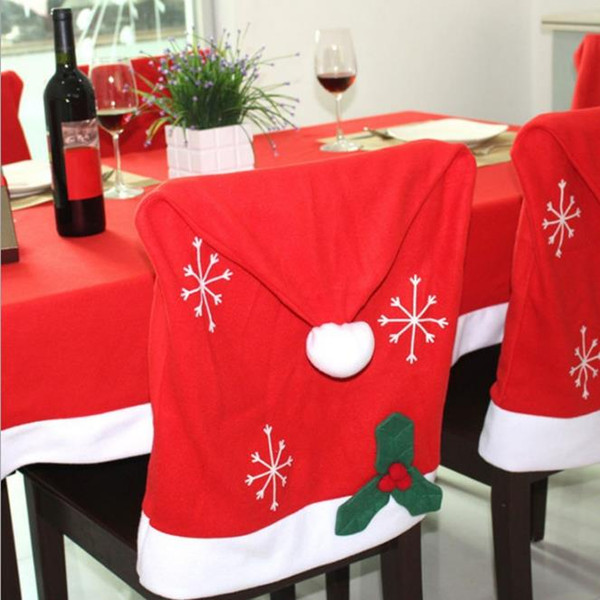 Incredible Christmas Red Tablecloth And Santa Hat Chair Covers With Snowflake Patterns For Dinner Room Non Woven Fabric Christmas Table Decor Custom Christmas Squirreltailoven Fun Painted Chair Ideas Images Squirreltailovenorg