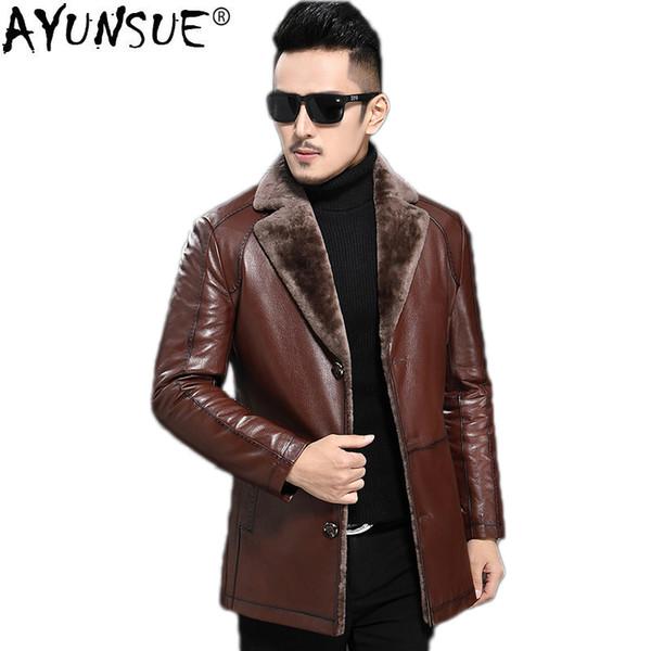AYUNSUE Genuine Leather Jacket Men Sheepskin Coat for Men Jacket Winter Plus Size Sheep Shearling Real Fur Coats 2018 KJ1209