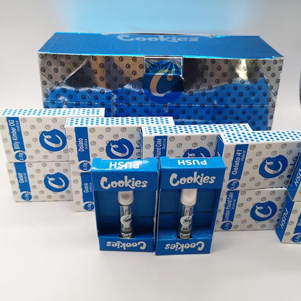 PUSH Cookies Тележки Vape Cartridge Упаковка Cookies Флаеры 0,8 мл 1 мл Керамические пустые картриджи Vape Pen Белые керамические наконечники Пустая стеклянная емкость