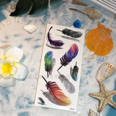3D tatuajes temporales tridimensional impresión en color etiqueta engomada del tatuaje flor de mariposa animal mujeres y hombres tatuajes a prueba de agua