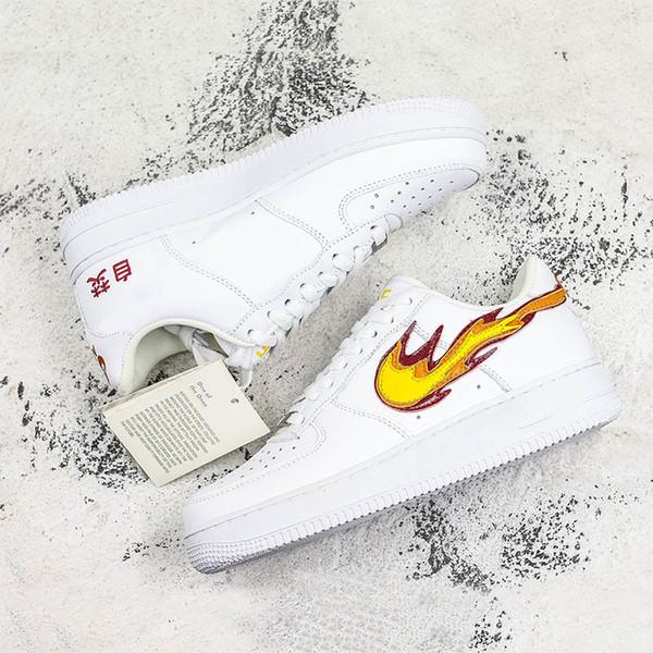 Zorla Yeni 1 Kaykay Ayakkabı Yangın Çince Karakterler Ile Oynamak Baskı Erkek Kadın Rahat Açık Sneakers