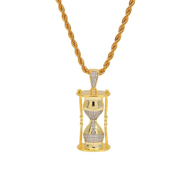 2019 Fashion Hiphop Hourglass Pendant Necklace For Men Bling Cubic Zirconia Ice Out Gold Plated Charm Mens Brand Jewelry Necklaces