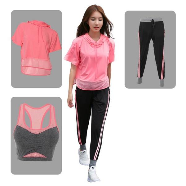 3 in 1 Set Top Qualität 2017 Fitness Yoga Frauen Sport Bh Hosen Hoodies Gym Kleidung Sport Tragen Anzug Outdoor Jog # 556443