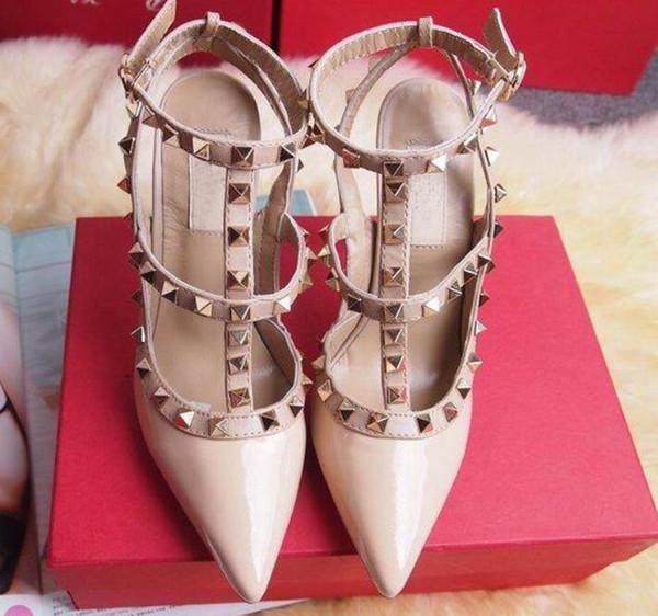 Новые женщины на высоких каблуках одеваются на вечеринку модные заклепки девушки сексуальные острым носом обувь пряжки туфли на платформе свадебные туфли черный белый розовый