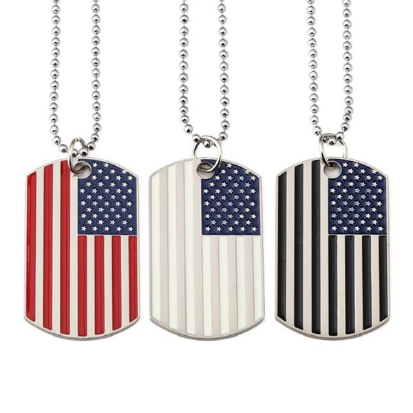 Anhänger Ketten amerikanische Flagge USA Patriot Freiheit Sternenbanner Armee Hundemarke Halskette für Männer Frauen Hip Hop Schmuck DHL