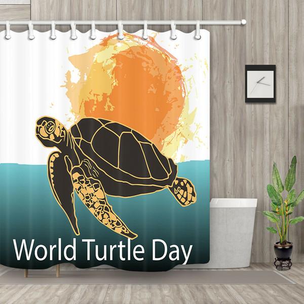 Rideau de douche de jour de protection de tortue Durable tissu Mildew Accessoires de salle de bains Creative avec 12 crochets 180X180CM