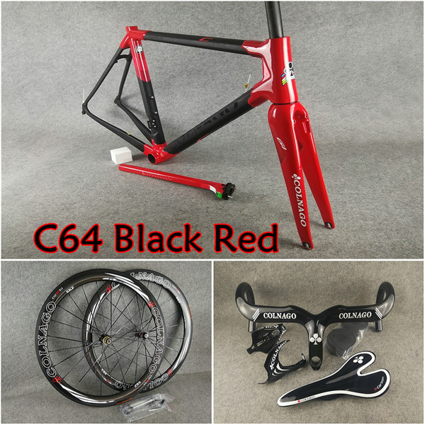 T1100 UD Matte-Glossy Black Red Colnago C64 carbon frames Handlebar Saddle Water bottle cages 50mm carbon wheelset A271 hubs free shipping