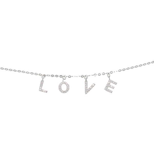 925 Sterling silver top quality valentines gift drip cz charm foot chain anklet adjustable cute letter Alphabet L O V E ANKLETS