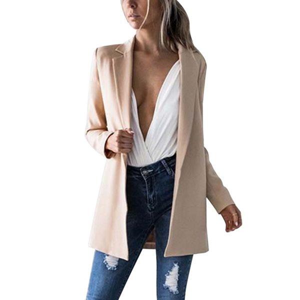 LITTHHING 2019 New Women Long Sleeve Coats Blazers Ladies Cardigan Casual Blazer Suit Outwear OL Ladies Twill Coats Jackets