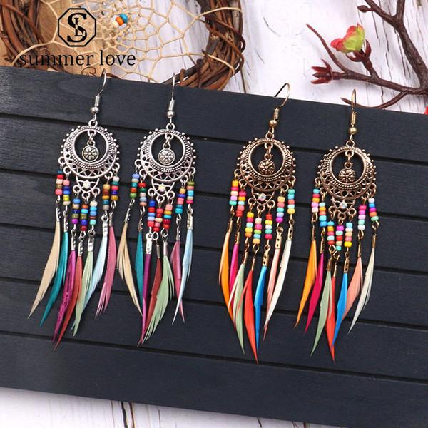 Venta caliente de oro de plata de la vendimia pendientes de la borla de la pluma para las mujeres con flecos largos cuelga el regalo de la joyería del pendiente