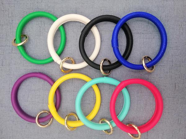 Hot Key Ring Bracelet Leather Keychain Personalized Enamel Multicolor Leather Tassels Bracelet Keychain Leopard Bangle KeychainA03