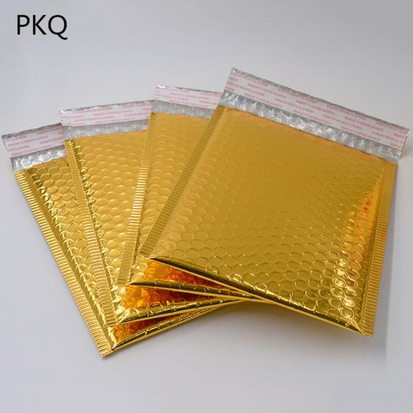 50 PC 3 Taille 15 * 13cm / 18 * 23cm / 20 * 25cm Or Enveloppe De Rembourrage Rembourré Métallique Bulle Mailer Or Papier D'aluminium Sac Cadeau Emballage Emballage
