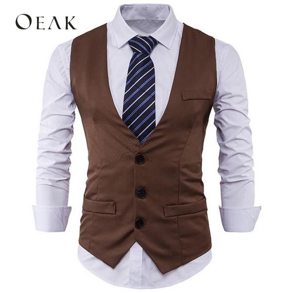 Oeak monopetto da uomo Blazer formale gilet senza maniche Giacca da uomo Business Slim con scollo a V Vintage Retro Khaki Vest