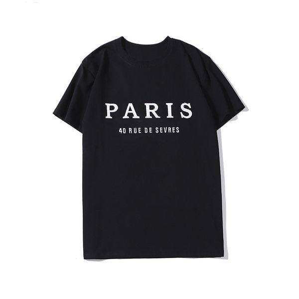 Mens 20SS Luxury Designer camiseta Casais Famous Brand Homens Mulheres Casual Pullover T Shirt Black White Designer Tamanho S-XXL