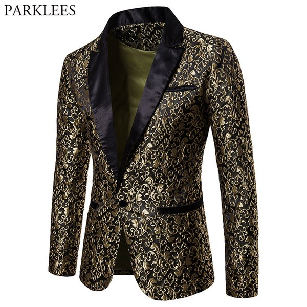 Gold Embroidery Jacquard Floral Blazer Men 2018 Fashion Notched Lapel Single Button Suit Blazer Jacket Men Wedding Costume Homme
