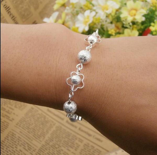 New Korean jewelry five-pointed star apple ball shape batch tassel plating thick silver bracelet