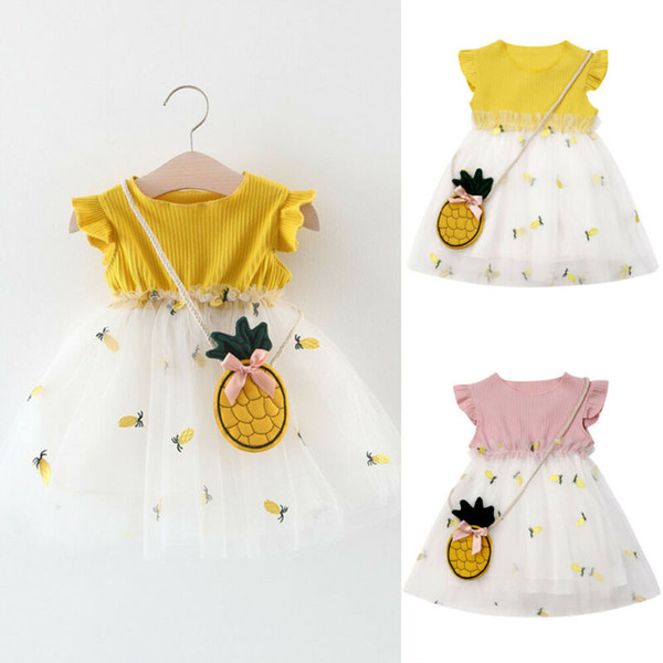 0-3T Brand New Vêtements tout-petits enfants bébé fille Pineapple tenue Princesse Tutu Tulle Robe + ananas Sac de Set Party Sundress