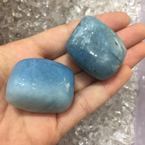 2pcs Big Natural Blue Aquamarine Tumbled Stone Cube Original Ore Specimen of Rock Crystal Natural stones and minerals for home decor