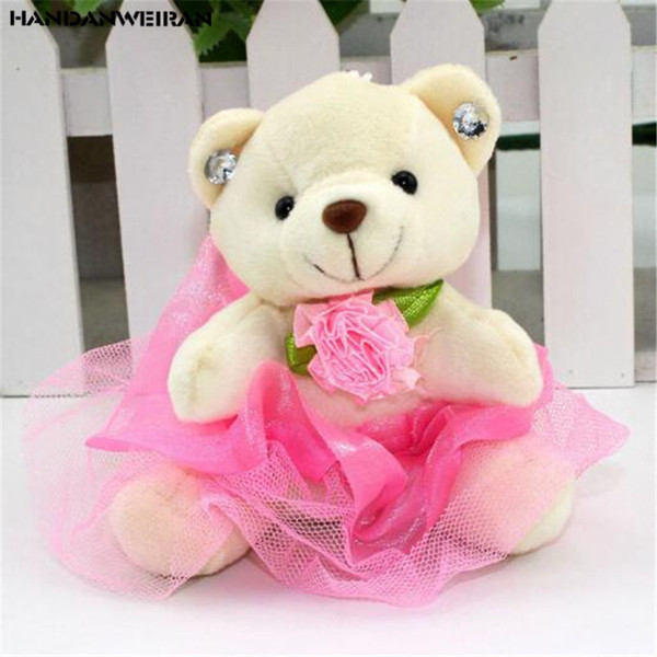 1PCS Plush Fluffy Bouquet Skirt Bear Toys Dolls Cute Mini PP Cotton Bears Doll Toy Unisex Small Pendant Valentine Gifts 10CM Hot