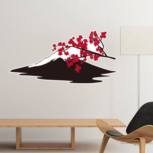 Japan Culture Red Black Branch Sakura Fuji Silhouette Art Illustration Pattern Removable Wall Sticker Art Decals Mural DIY for Room Decal