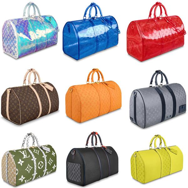 nuova borsa da viaggio calda di marca di alta qualità da uomo in vera pelle Keepall 45 50 55 borsa a tracolla da uomo con tracolla