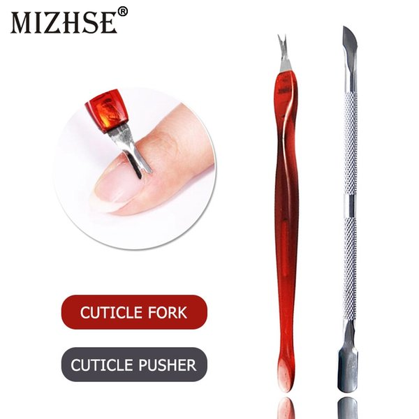 MIZHSE Stainless Steel Nail Art Double Sided Cuticle Fork Dead Skin Cut Remover Pusher Nail Tools For Manicure Art