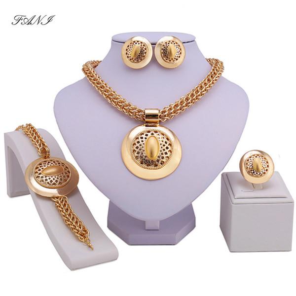 Fani new requintado dubai cor de ouro conjunto de jóias big nigeriano mulher de casamento acessórios conjunto de jóias contas africanas