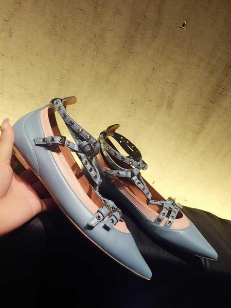 Hot Sale- leather stud strappy belt pointed flats shoes BLACK BLUE