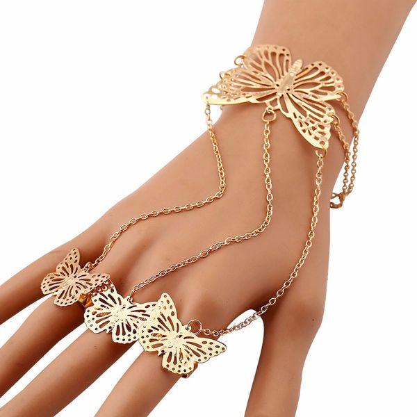 100% a estrenar Pulseras de moda Mujer Simple Hollow Butterfly Brazalete Pulsera Anillo de dedo Popular Charm Bracelets Regalos