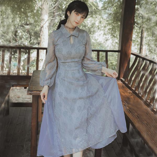 Best Quality Series# Dinner Dress for Women Grey Vintage Retro Cheongsam Lantern Sleeve Midi Party Prom Evening Elegant Dresses 1381