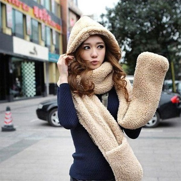 Winter Warm Soft Faux Fur Scarf Gloves Set Women Hooded Cap Hat Scarves Set Womens Scarf Gloves Christmas Gift For Women Girl F2