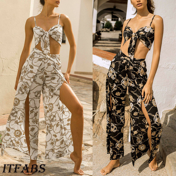 Women Summer Floral Boho Sleeveless Clubwear Jumpsuit Loose Romper Playsuit Trousers Casual Party Pants 2PCS Set Black White