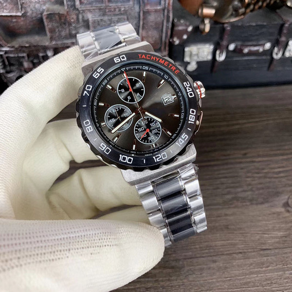 New Style Quartz VK Movement Chronograph Calibre 16 Uomini orologi Stainless Band Orologio maschile Montre Homme