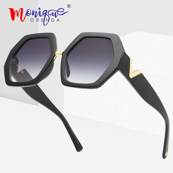 Moda vintage gafas de sol hexagonales retro degradado geométrico marco de plástico V carta piernas gafas de sol hombres mujeres gafas oculos