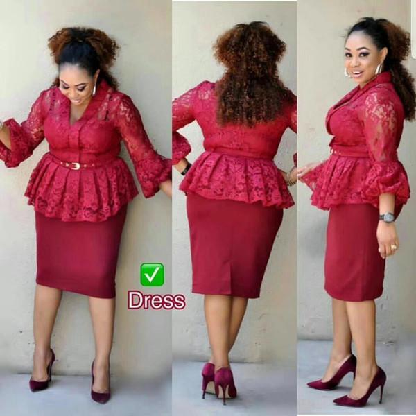Sıcak satış zarif tasarım parti dantel kadın elbise yüksek kalite 3xl kırmızı renk kadınlar için akşam parti afrika elbiseler