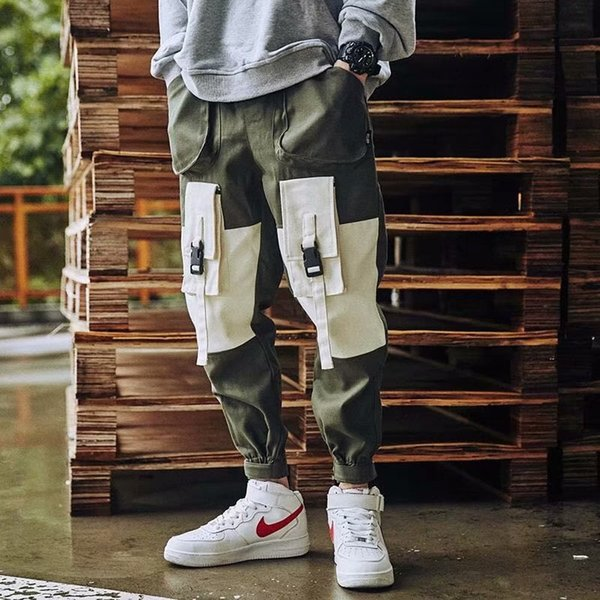 men ribbons color block multi pocket cargo pants harem joggers harajuku sweatpant male hip hop trousers, Black