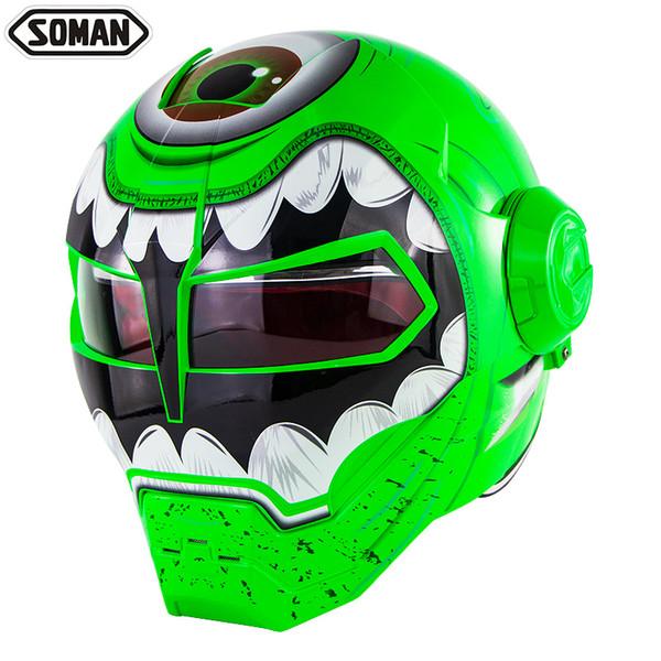Personalized Motorcycle Full Face Helmet Iron Man Motor Bike Flip up Helm Skull Casco DOT Approval SM515
