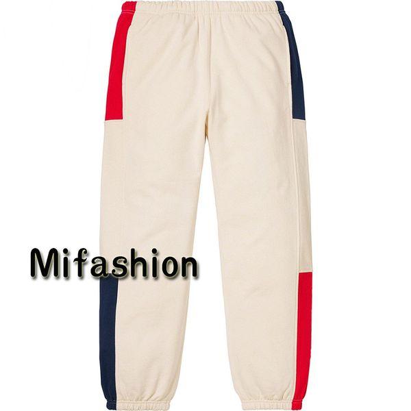 19ss Luxury American Box логотип высокое качество брюки лоскутное цвет повседневная флис тренировочные брюки Мужчины Женщины хип-хоп Бегун брюки США размер