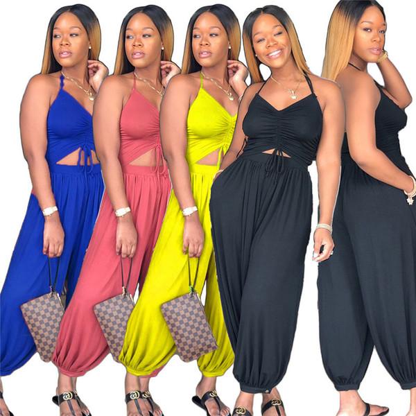 Mode Femmes Halter Combinaison Col En V Dos Nu Bloomers Barboteuses Taille Haute Lâche Pantalettes Combinaisons Combinaison One-piece Body Romper S-3XL