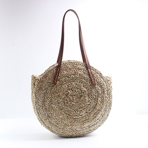 Women Travel Round Straw Bags Fashion Natural Oval Beach Bag Creative Hand Woven Circle Handbag Lady Outdoor Shopping Tote TTA571