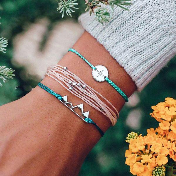 3 Pcs/set Women's Fashion Silver Compass Mountains Geometry Beads Braided Rope Bracelet Bohemian Retro Jewelry Accessories